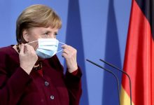 German Chancellor Angela Merkel arrives for a news conference, amidst the coronavirus disease (COVID-19) pandemic, at the Chancellery in Berlin, Germany March 19, 2021. Michael Sohn/Pool via REUTERS