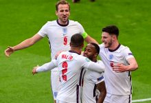 England players celebrate with Raheem Sterling after he opened the scoring against Czech Republic