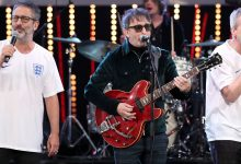 Frank Skinner (right) performs with David Baddiel (left) and Ian Broudie (centre) of the Lightning Seeds in 2018