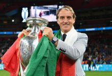 Italy coach Roberto Mancini with the trophy after winning Euro 2020 at Wembley