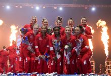 Members of the women's Olympic gymnastics team and alternates pose during the US Olympic Team Trials.