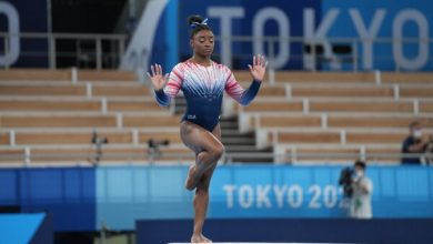 Simone Biles practiced her balance beam routine roughly two hours before the competition was scheduled to begin.