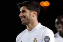 Marco Asensio celebrates after scoring Real Madrid's third goal
